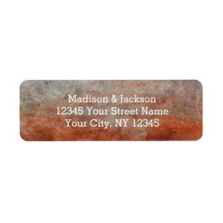 Étiquette Adresse de retour de mariage gris orange de