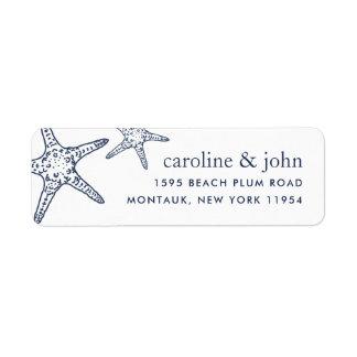 Étiquette Adresse de retour de marine et d'étoiles de mer