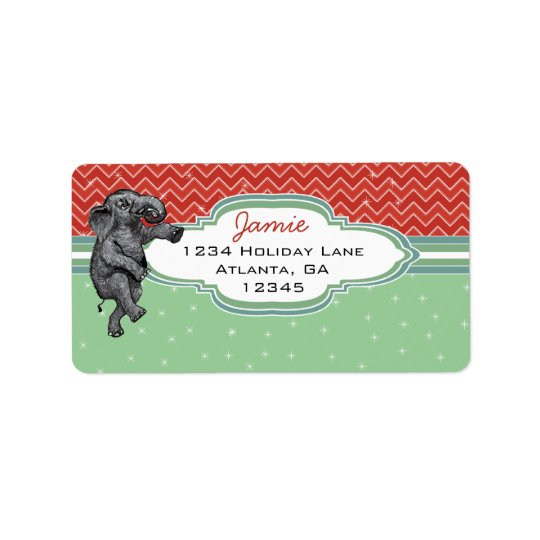 Étiquette Adresse de retour de motif de zigzag d'éléphant de