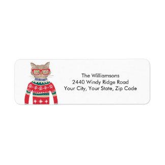 Étiquette Adresse de retour de Noël de chat drôle laid de
