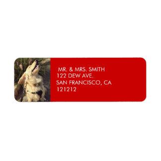 Étiquette Adresse de retour de Noël rouge de fête fait sur