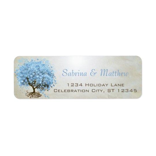 Étiquette Adresse de retour de poudre de bleu de coeur