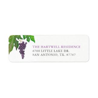 Étiquette Adresse de retour de raisins de partie