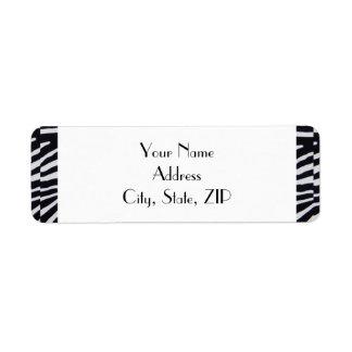 Étiquette Adresse de retour de rayure élégante de zèbre