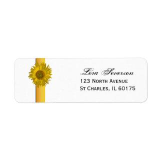 Étiquette Adresse de retour de rayure jaune de tournesol