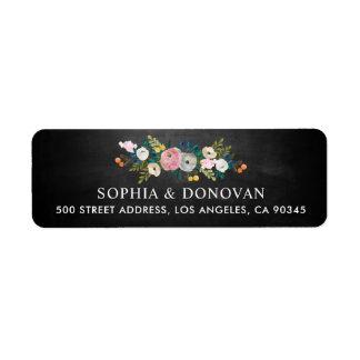 Étiquette Adresse de retour de tableau floral féminin de