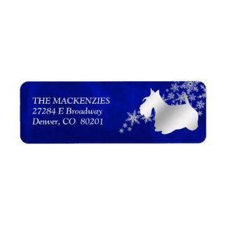 Étiquette Adresse de retour de Terrier d'écossais bleu
