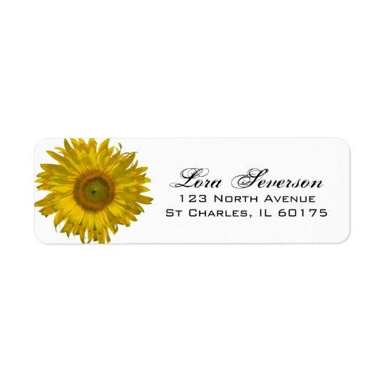 Étiquette Adresse de retour de tournesol jaune de jardin