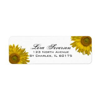Étiquette Adresse de retour de tournesols jaunes