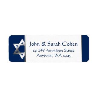 Étiquette Adresse de retour d'étoile de David de marine et