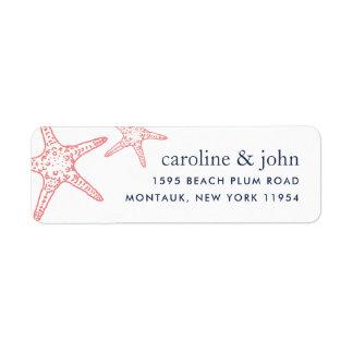 Étiquette Adresse de retour d'étoiles de mer de corail et de