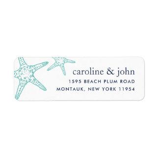 Étiquette Adresse de retour d'étoiles de mer de turquoise et