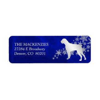 Étiquette Adresse de retour d'hiver de chien bleu de boxeur