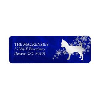 Étiquette Adresse de retour d'hiver de chien bleu de chiwawa