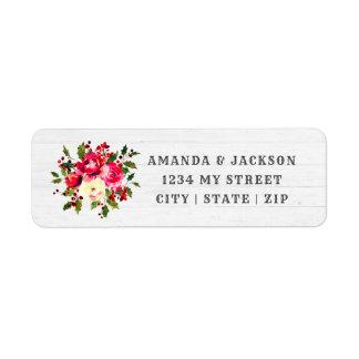 Étiquette Adresse de retour d'hiver de mariage floral