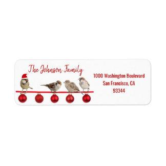 Étiquette Adresse de retour d'oiseaux de Père Noël de Noël