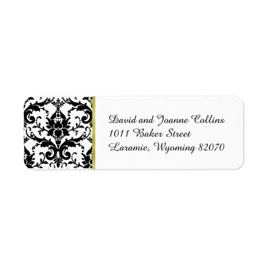 Étiquette Adresse de retour d'or noir de damassé
