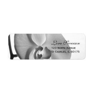 Étiquette Adresse de retour d'orchidée blanche