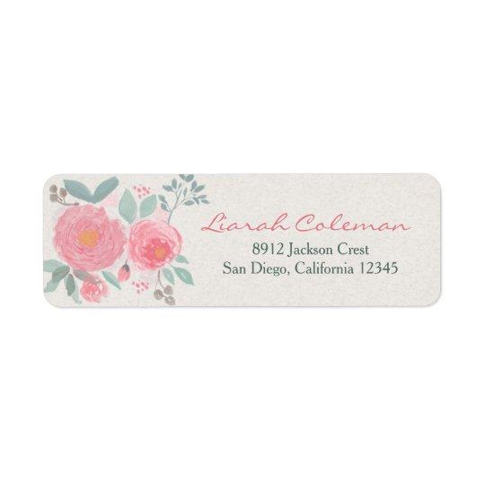 Étiquette Adresse de retour florale d'aquarelle peinte à la
