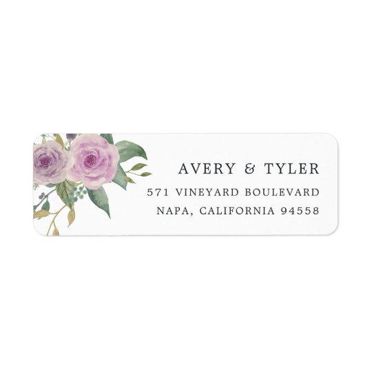 Étiquette Adresse de retour florale violette et sage