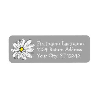 Étiquette Adresse de retour grise et jaune de marguerite à