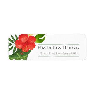 Étiquette Adresse de retour ID475 de mariage floral tropical