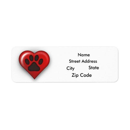 Étiquette Adresse de retour Lables de propriétaire de chien