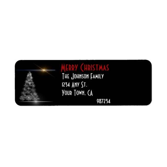 Étiquette Adresse de retour noire et blanche d'arbre de Noël
