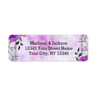 Étiquette Adresse de retour pourpre chic florale et de noces