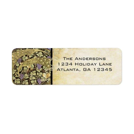 Étiquette Adresse de retour pourpre Lablels d'or de paon de