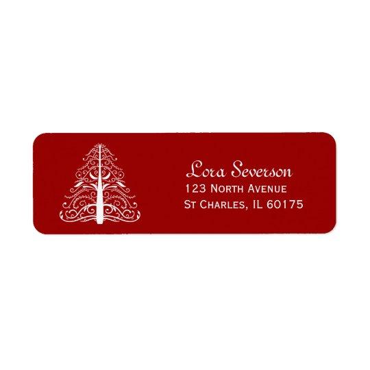 Étiquette Adresse de retour rouge d'arbre de Noël