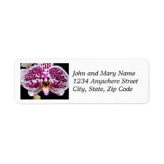 Étiquette Adresse de retour tachetée pourpre d'orchidée de