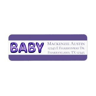 Étiquette Adresse de retour violette pourpre du baby shower