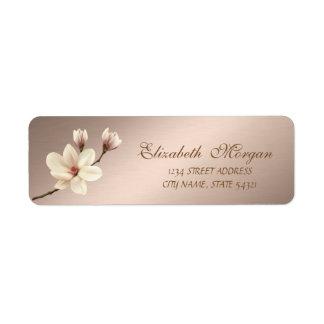 Étiquette Adresse élégante élégante   de magnolia