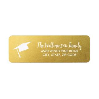 Étiquette Adresse faite sur commande d'or chic élégant de
