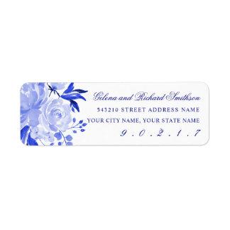Étiquette Adresse florale d'aquarelle de bleu royal et de
