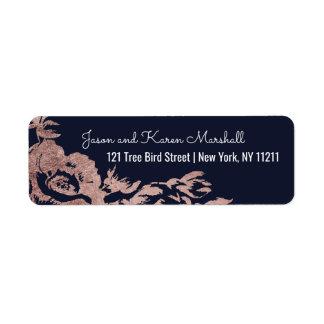 Étiquette Adresse florale de bleu marine et d'or rose