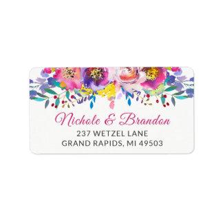 Étiquette Adresse florale de fleur fuchsia d'or d'aquarelle