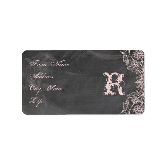 Étiquette Adresse florale rose antique de monogramme de
