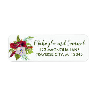 Étiquette Adresse florale tropicale de vert de ketmie d'île