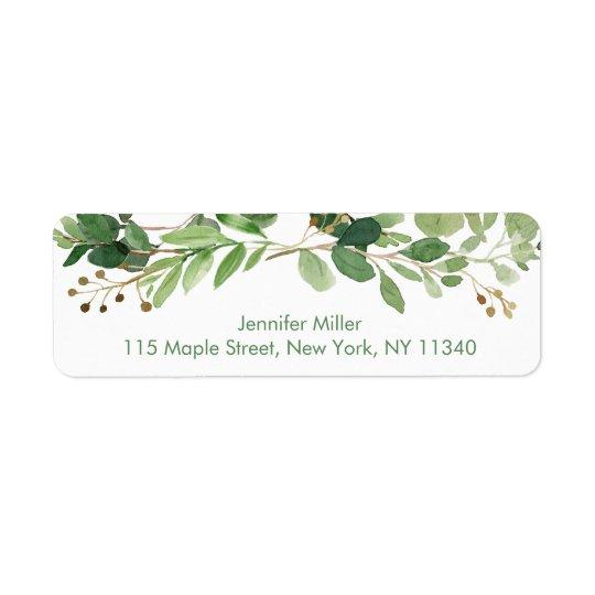 Étiquette Adresse florale verte rustique de baby shower