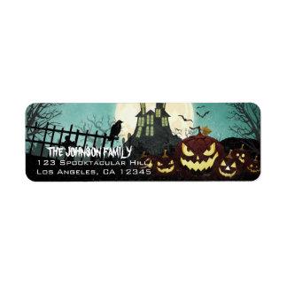 Étiquette Adresse hantée éffrayante de Halloween de ciel