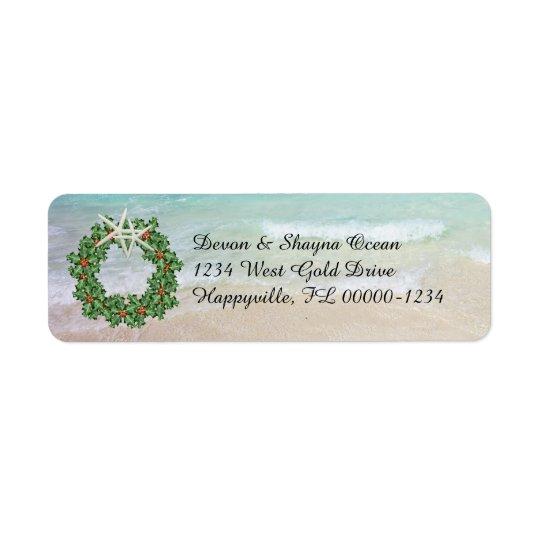 Étiquette Adresse maigre de Noël d'océan tropical de