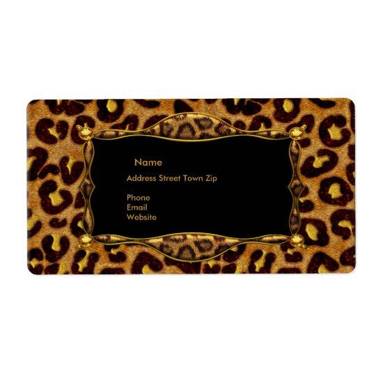 Étiquette Adresse noire d'étiquette d'or de léopard