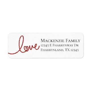 Étiquette Adresse rouge de coeur de Moder de calligraphie