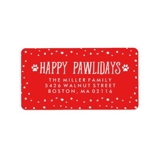 Étiquette Adresse rouge heureuse de vacances de Pawlidays |