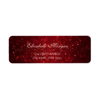 Étiquette Adresse rouge sophistiquée élégante de Bokeh