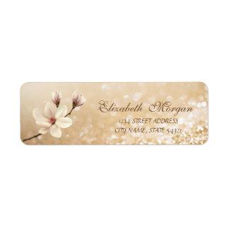 Étiquette Adresse scintillante de Bokeh de magnolia élégante