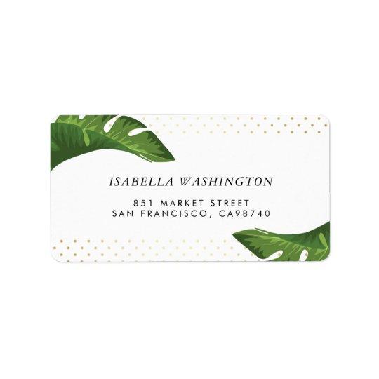 Étiquette Adresse tropicale de mariage de palmettes chics