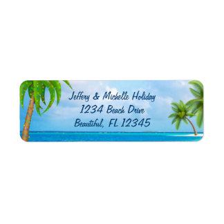 Étiquette Adresse tropicale de plage de palmier de vacances